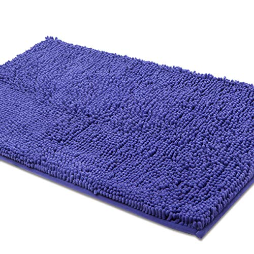 ITSOFT Non-slip Shaggy Chenille Soft Microfibers Bathroom Rug with Water Absorbent, Machine Washable, 21 x 34 Inch Royal Blue