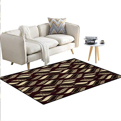 """Price comparison product image Carpet, Ethnic African Style Cheetah Skin Texture Pattern Camouflage Design, Rug Kid Carpet, Redwood Brown Pale Yellow, 48""""x70"""""""