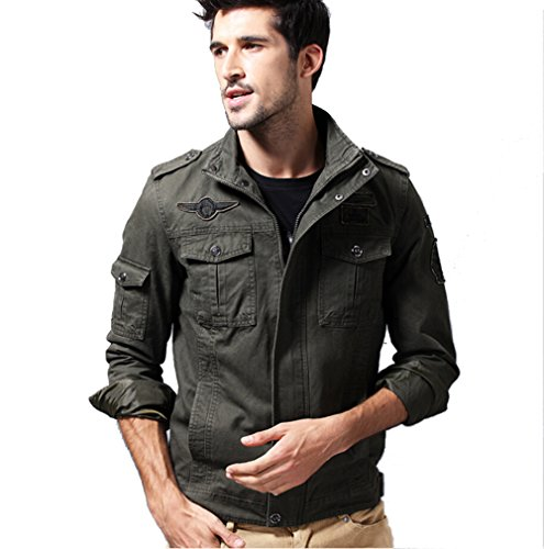 DeLamode Men's Military Style Embroidery Stitching Cotton Classic Coat Jacket US 2XL Army Green