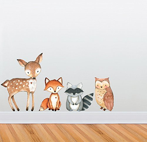 Woodland Creatures Wall Decal Collection - Nursery and Children's Room Decor Set - Deer, Owl, Raccoon, Fox