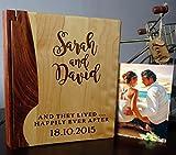 Personalized Wood Cover Photo Album, Custom Engraved Wedding Album, Style 102 (Maple & Walnut Cover)