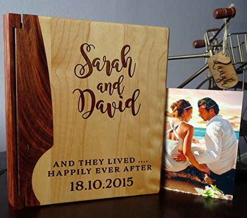 Personalized Wood Cover Photo Album, Custom Engraved Wedding Album, Style 102 (Maple & Walnut (Engraved Wedding Photo Album)