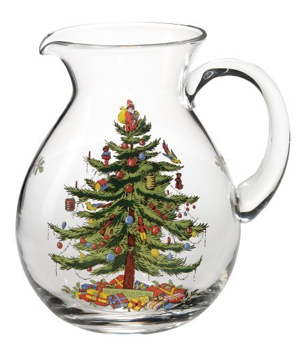 Christmas Tree Pitcher - Spode Christmas Tree Glass Pitcher by Spode