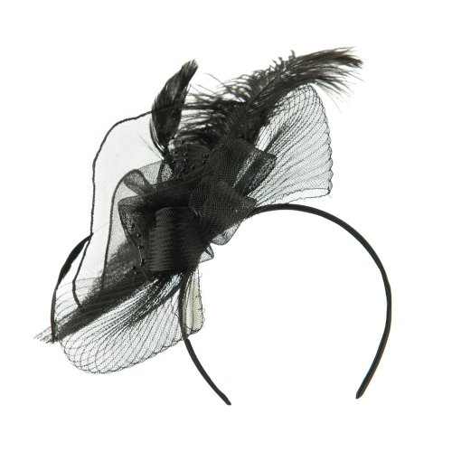 Feather Flower Ruffle Fascinator Black product image