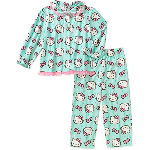 Sanrio Hello Kitty Toddler Little Girls 2 Piece Button Down Flannel Pajama Set - 2 Flannel Piece Pajamas Button