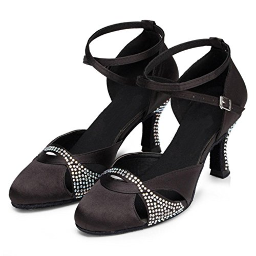 Monie Women's Glitter Crystal Salsa Ballroom Tango Dance Shoes Flare Heel Black VGUVjc8zfW