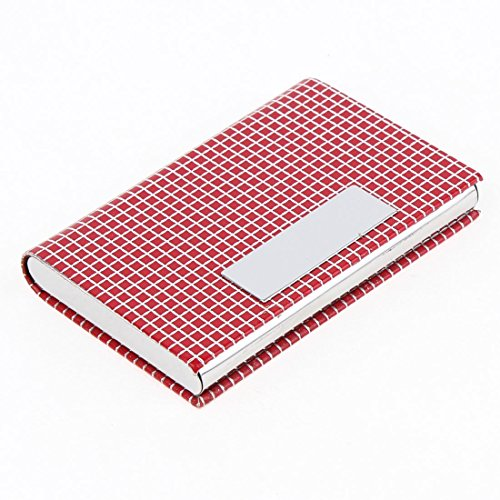 Uxcell Grid Print Magnetic Business Card Holder Case, Red...