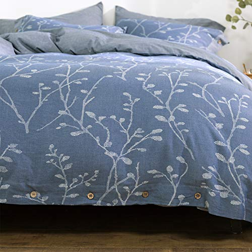 OREISE Duvet Cover Set King Size Washed Cotton Yarn, Jacquard Blue and White Thick Branch Pattern Floral Style 3Piece Bedding Set (Duvet Loop Organic Cover)