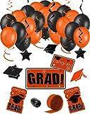 Congrats Grad 38pc Decoration Graduation Pack - School Colors Orange Black