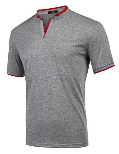 Zuckerfan Men's Polo Casual Slim Fit Short Sleeve Polo Shirts(Grey,L) by Zuckerfan (Image #2)