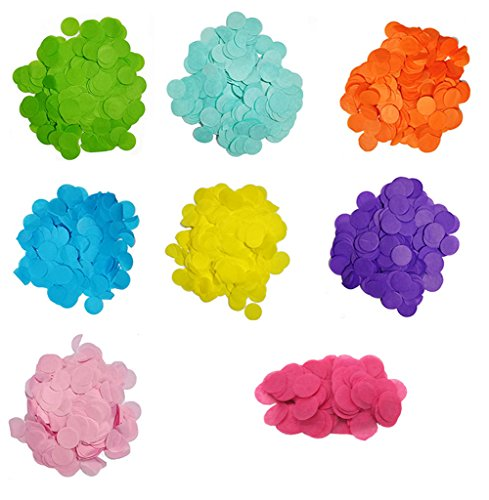 Approx 8000 Pieces 1 inch Multicolor Round Tissue Confetti Tissue Party Table Confetti for Birthday Wedding Sprinkles Party Decoration