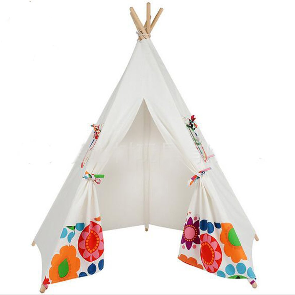 Fessyc@New sun flower indian teepee children's indoor princess dollhouse games tent house Indian wooden canvas tent