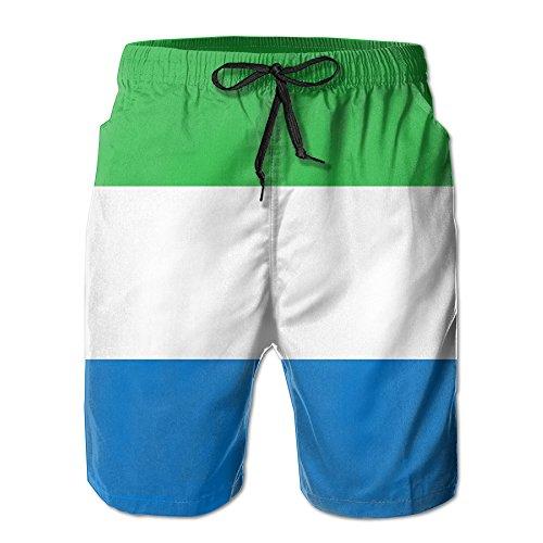 Sierra Leone Flag Beach Shorts Borad Shorts Swim Trunks With Pocket by RALANG