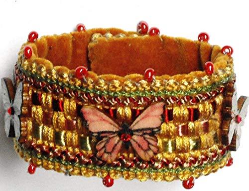 Handmade Soft Embroidered Velvet Fabric Beaded Butterfly Boho Cuff Bracelet with Swarovski Crystal Rhinestones