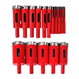 14Pcs Diamond Drill Bit Sets, Masonry Core Hole Drill Bits Set Cut Cutting Tools Hollow Extractor Remover Cutter Set Diamond Glass Drilling Hole Saws Router Bits for Tiles Marble Glass Granite 6-35mm