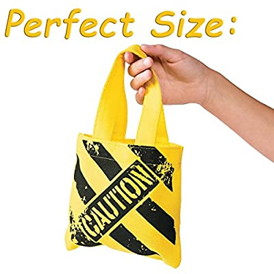 Bulk Birthday Construction Party Favor Set 24 Yellow Hats 24 Small Tote Bags for Kids, 4E's Novelty: Toys & Games