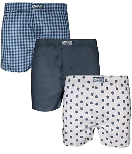Lucky Brand Mens 3 Pack Woven Boxers (Small, Blue Print/Blue ()