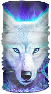 Zzxi White Ice Wolf Magic Headband Elastic Seamless Face Mask Bandanas Neck Balaclava Outdoor Sport Headwear Scarf,Balaclava,Helmet Liner,ATV/UTV Riding UV Resistence