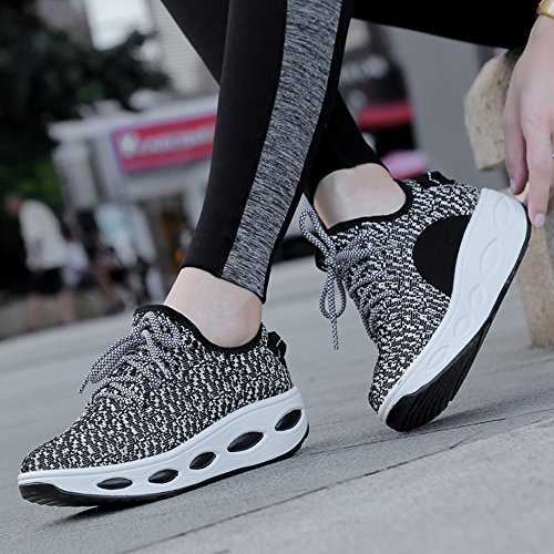 Breathable Air Thick black Shoes Mesh Shoes Coconut Cushion Hasag Gray Rocking Autumn Women'S Woven Shoes Sports Bottom Mesh Flying Leisure Female Shoes Shoes zPqWIBWw