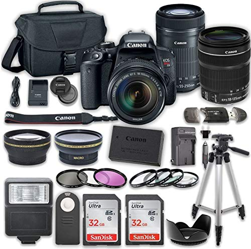 Canon EOS Rebel T7i DSLR Camera Bundle with Canon EF-S 18-135mm f/3.5-5.6 IS STM Lens + Canon EF-S 55-250mm f/4-5.6 IS STM Lens + 2pc SanDisk 32GB Memory Cards + Accessory Kit