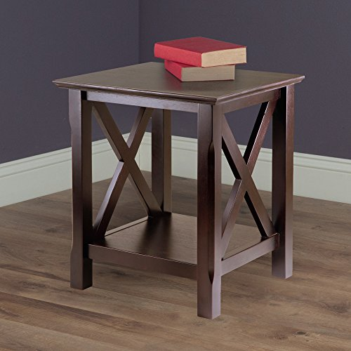Price comparison product image Wooden End Table With Side X Accent, Transitional Style, Open Lower Shelf, Extra Displaying Space, Carved Legs, Ideal For Living Room, Bedroom, Nightstand, Espresso Color + Expert Guide