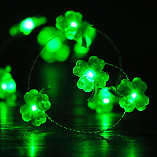 Impress Life St. Patrick's Day Shamrocks String Lights Decor, Four-Leaf Clover Copper Wire 10 ft 40 LEDs with Remote. for Christmas, Spring, Wedding, Birthday, Patio, DIY Home Parties Decorations ()