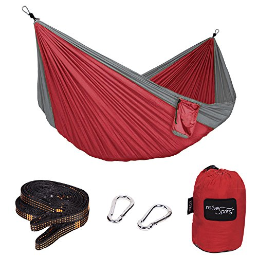 Native Spring Portable Camping Single Parachute Hammock Ultralight Nylon for Travel with Tree Straps Red & Charcoal
