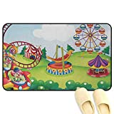 Circus Decor Floor Mat Rug Indoor Circus and Theme Park Design Carousel Amusement Excitement Trees Multicolor Rubber Front Entrance Outside Doormat W31 x L47 INCH