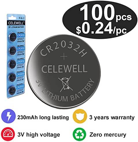 CELEWELL 100 CR 2032 3V Batteries CR2032 H 230mAh High Capacity Lithium Coin Button Cell
