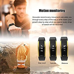 Fitness Tracker, KINGBERWI Heart Rate Monitor Activity Tracker, IP67 Waterproof Smart Bracelet Bluetooth Wristband Blood Pressure Watch with Sleep Monitor for Kids Girls Men Android iPhone (Black)
