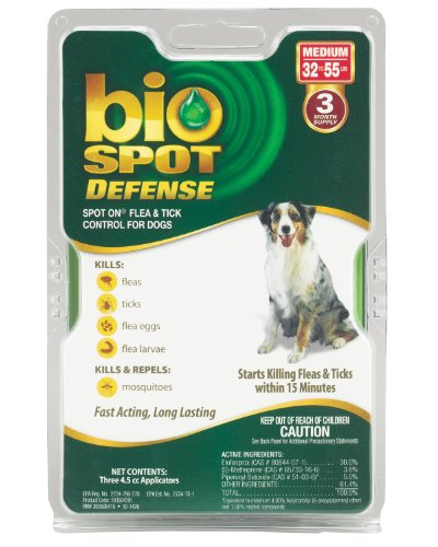 Defense Spot Dog Bio - Bio Spot Defense Spot on Flea and Tick Dogs 32-55-Pound, 3-Month Supply