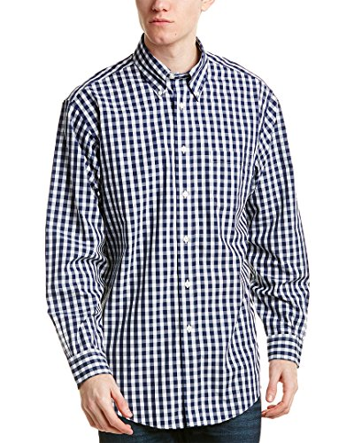 Brooks Brothers Mens 1818 Madison Fit Woven Shirt, L, Blue
