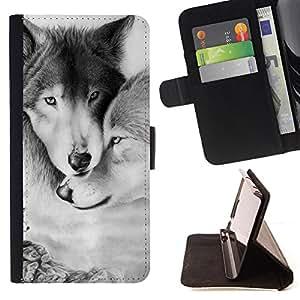 - Wolf Wolves - - Caso de la cubierta de la piel cierre magn????tico Cartera de cuero del tir????n FOR Samsung Galaxy S6 Gaga Case