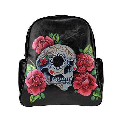 custom-skull-and-roses-painting-pu-leather-student-school-bag-multi-pocket-backpack