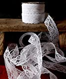 """AK-Trading 1"""" wide x 25 yards White Floral Pattern Lace Ribbon for Decorating, Floral Designing and Crafts"""
