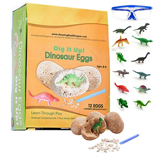 ADS Ultimate 12 Dinosaur Eggs Science Kit-Dig Up Dino Fossils and Assemble Skeleton Set! - Each Includes 1 Piece of Chisels ()