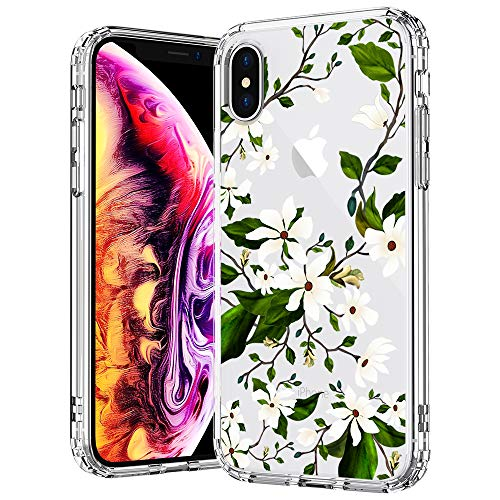 Magnolia Stripe - MOSNOVO Case for iPhone Xs/iPhone X, Floral Magnolia Flower Pattern Clear Design Transparent Plastic Hard Back Case with Soft TPU Bumper Protective Case Cover for Apple iPhone X/iPhone Xs