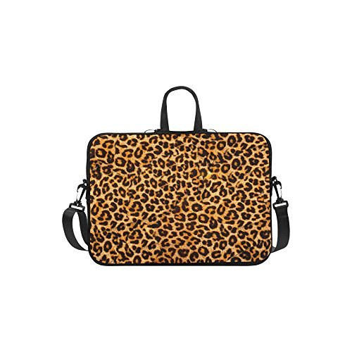 InterestPrint Leopard Animal Print Laptop Sleeve Case Bag, Tiger Shoulder Strap Laptop Sleeve Notebook Computer Bag 13.3 Inch for Macbook Pro Air HP Dell