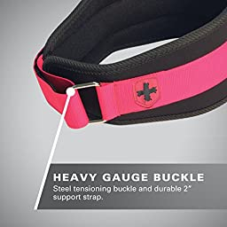 Harbinger Women\'s Nylon Weightlifting Belt with Flexible Ultralight Foam Core, 5-Inch, Pink, Medium