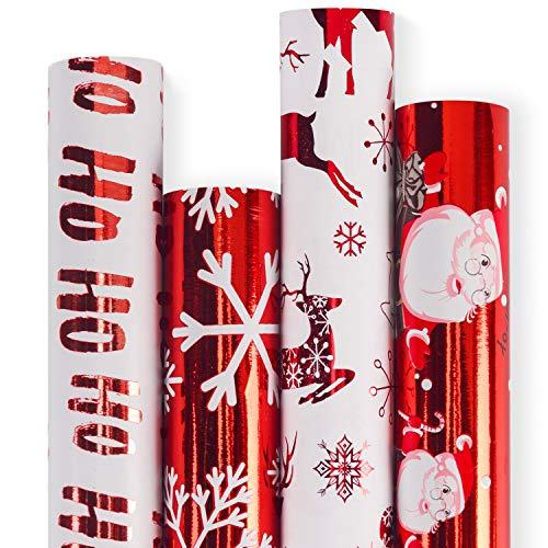 RUSPEPA Christmas Gift Wrapping Paper - Red and White Paper with a Metallic foil Shine Christmas Elements Collection - 4 Roll - 30Inch x 10Feet Per Roll