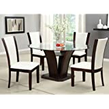 Manhattan Dark Cherry Finish Round Glass Top Ivory White 5-Piece Dining Set