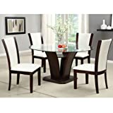 Round Dining Room Table Sets Manhattan Dark Cherry Finish 5-Piece Round Glass Top Dining Table Set / Ivory White Leatherette by 247SHOPATHOME