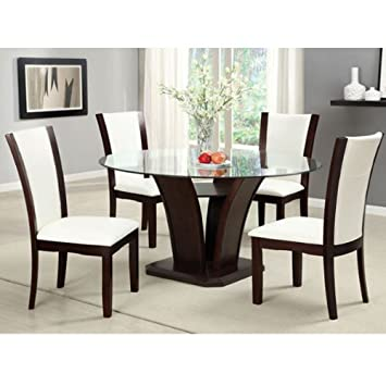 Manhattan Dark Cherry Finish 5-Piece Round Glass Top Dining Table Set - Ivory White Leatherette by 247SHOPATHOME