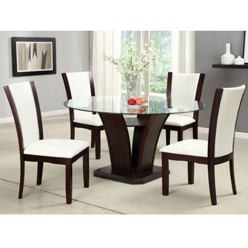 247SHOPATHOME IDF-3710RT-WH-5PC-SET Dining-Room-Sets, White (Manhattan And Chairs Table Dining)