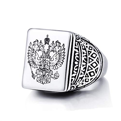 - Bishilin Stainless Steel Rings Dainty Men Ring Vintage Square Eagle Sign Rings Black Silver Size 13