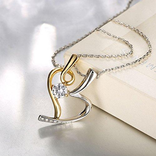 Jiayiqi Femmes De Coeur Pendentif Collier Collier Incrusté Nouveauté Design Drill Tchèque