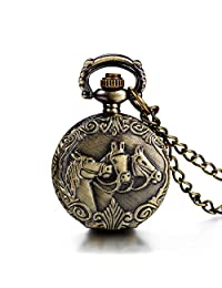 JewelryWe Antique Horses Locket Pocket Watch Quartz White Dial Arabic Numerals Full Hunter Sweater Necklace