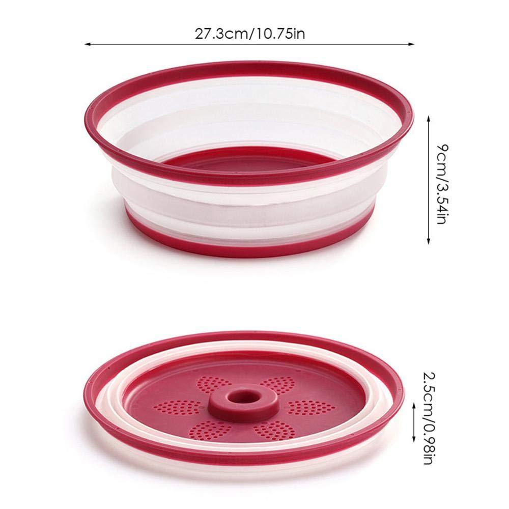 Red Campeggio Resistente al Calore Cucina FOONEE Pieghevole Copertura per Piatto da microonde per casa per Piatto da microonde Cestino di Scarico Esterno Giallo//Rosso Sicuro Senza BPA