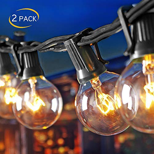 ((2 Pack) 25Ft Outdoor Patio String Lights with 25 Clear Globe G40 Bulbs and 1 Spare Bulb, UL listed Hanging Indoor/Outdoor String Lights, Perfect for Backyard Porch Garden Market(52 Bulbs 50FT))