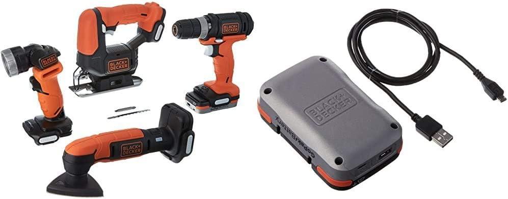 BLACK+DECKER GoPAK Cordless Drill Combo Kit, 4 Tool with Extra GoPak Battery & USB Charging Cable (BDCK502C1 & BCB001K)
